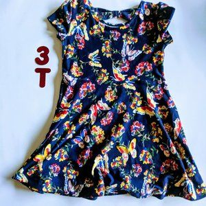 Blue 3T dress with flowers and butterflies
